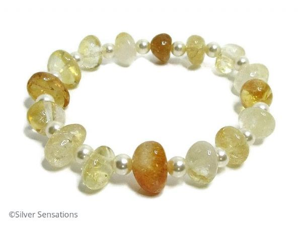 Golden Yellow Citrine Nuggets Elegant Beaded Bracelet With Swarovski Creamy Pearls | Silver Sensations